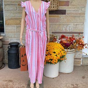 Old Navy Striped Linen Blend Jumpsuit Plus Size